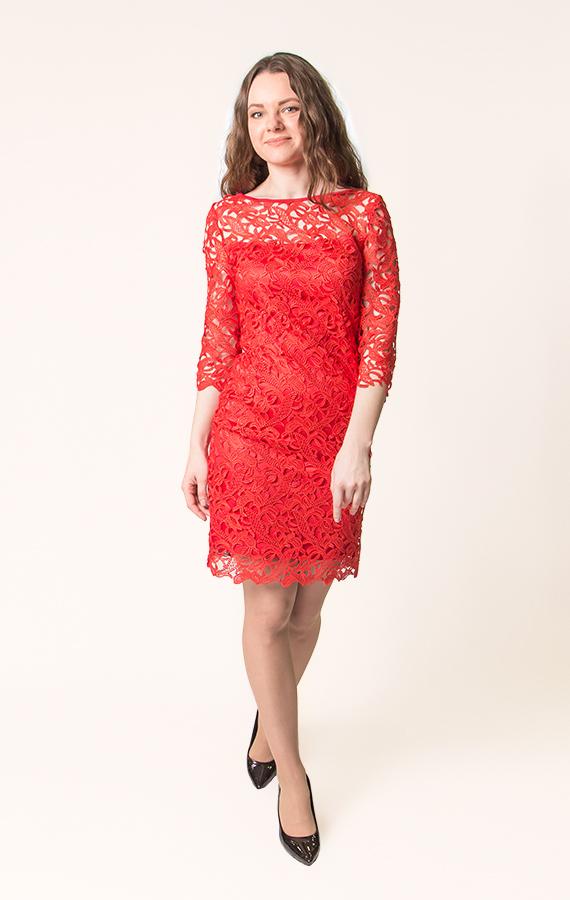 Прямое кружевное платье-1