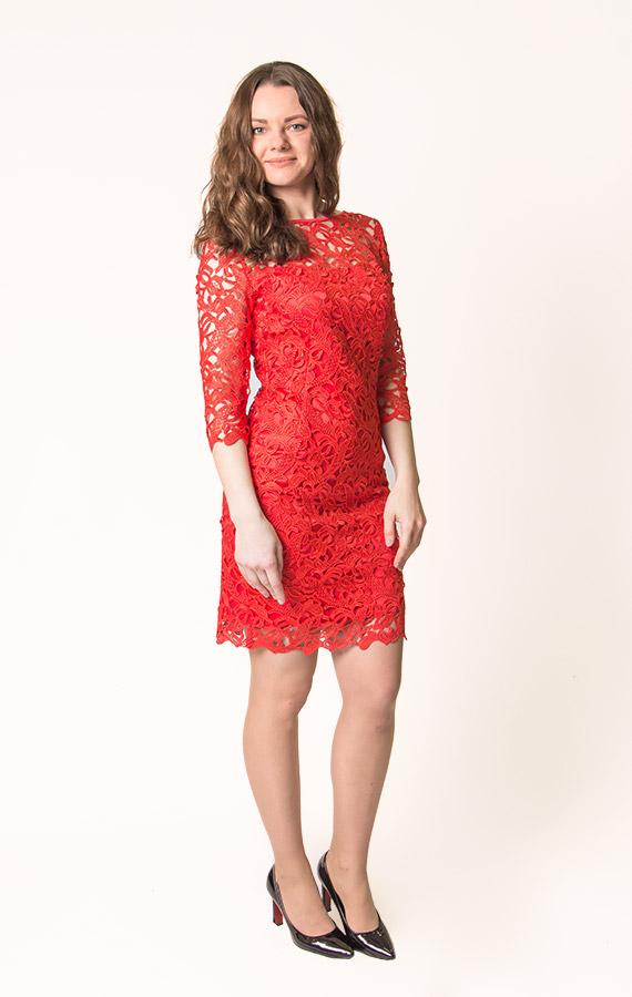 Прямое кружевное платье-3