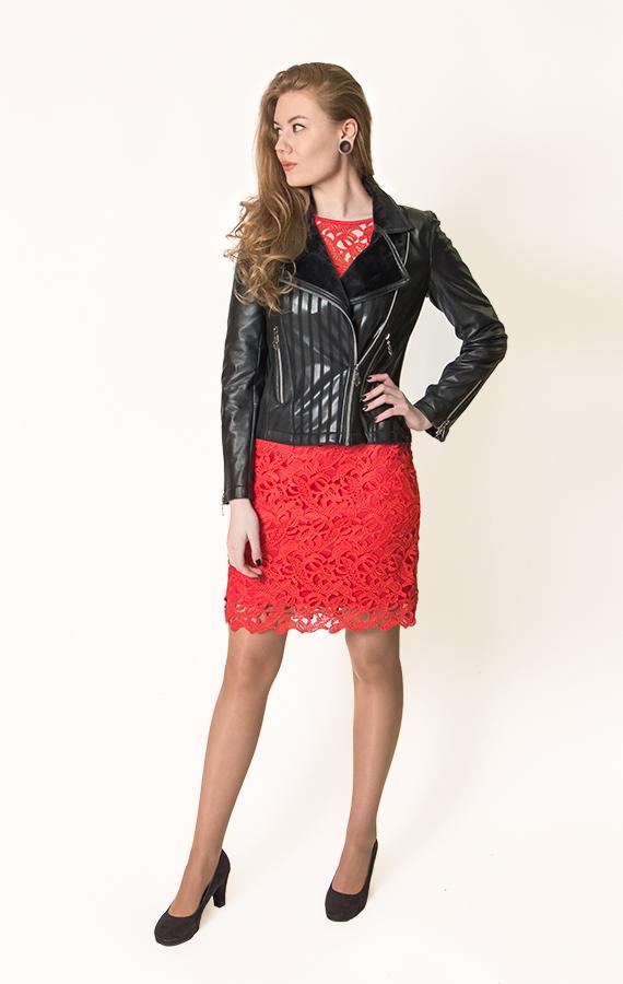 Прямое кружевное платье-4