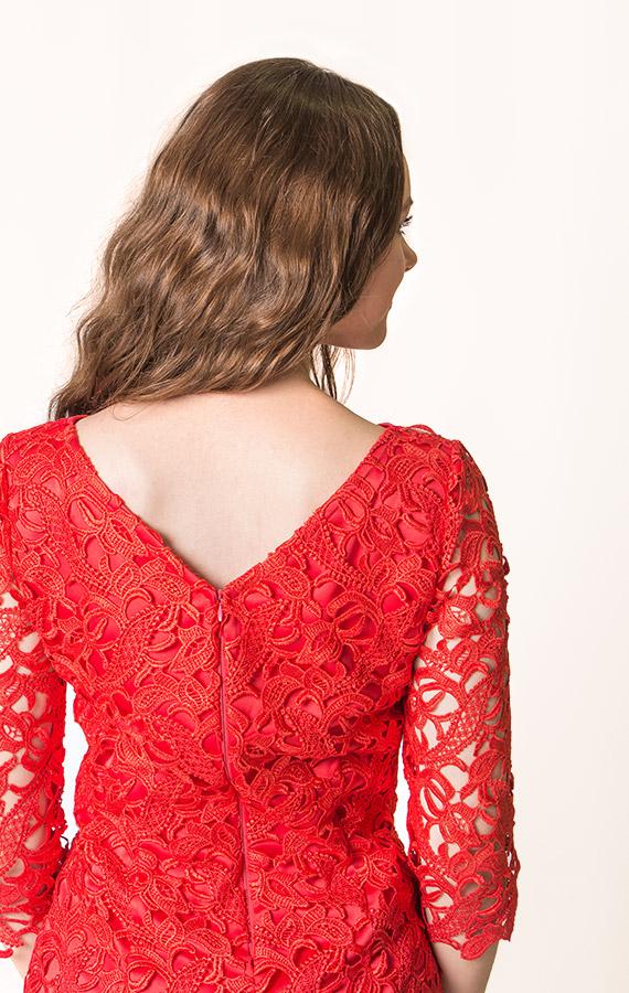 Прямое кружевное платье-5